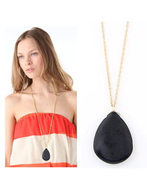Skinny Black Waterdrop Shape Pendant Decorated Simple Design Alloy Chains