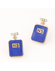 Concealed Sapphire Blue Diamond Decorated Perfume Bottles Shape Design Alloy Stud Earrings