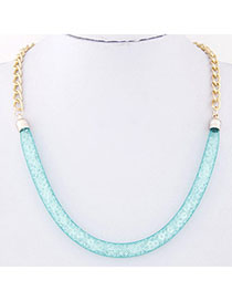 Masculine Blue Chain Shape Decorated Simple Design Alloy Korean Necklaces