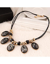 Lovely Black Oval Shape Decorated Simple Design Alloy Bib Necklaces