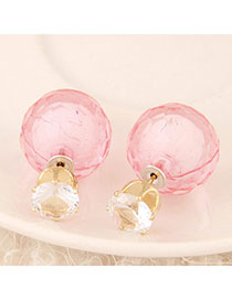 American Pink Conady Color Diamond Decorated Round Shape Design Alloy Stud Earrings