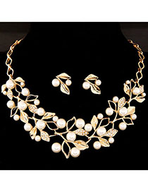 Executive White Pearl Decorated Leaf Shape Design Alloy Jewelry Sets