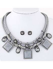 fashion Champaign Gray Gemstone Decorated Square Shape Design