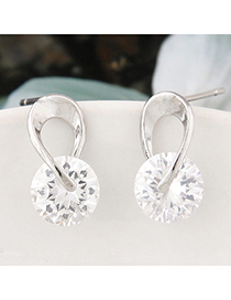 shiny Silver Color Diamond Decorated Simple Design