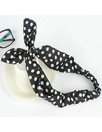 hot Black Dot Pattern Decorated Bowkot Design Fabric Hair band hair hoop