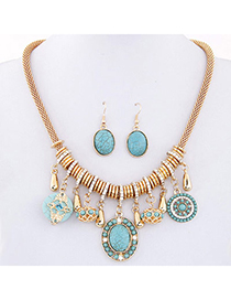 bohemia Blue Gemstone Decorated Oval Shape Design Alloy Jewelry Sets