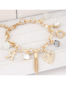 Korean Gold Color Diamond Decorated Heart Shape Design Alloy Korean Fashion Bracelet