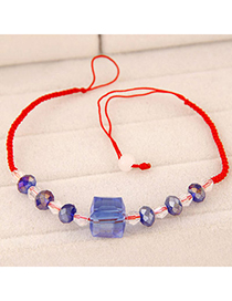 Sweet Blue Square Shape Decorated Weave Design Imitation Crystal Korean Fashion Bracelet