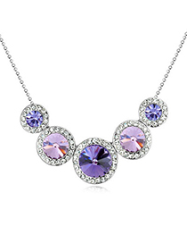 Temperamental Pinkish Purple Diamond Decorated Round Shape Design Alloy Crystal Necklaces