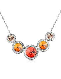 Temperamental Padparadscha Diamond Decorated Round Shape Design Alloy Crystal Necklaces