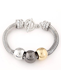 Korean Silver Color Diamond Decorated Simple Design Alloy Korean Fashion Bracelet