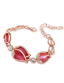 Boutique Plum Red Diamond Decorated Flower Design Alloy Korean Fashion Bracelet