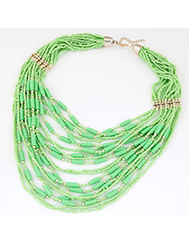 bohemia Green Beads Decorated Multilayer Design
