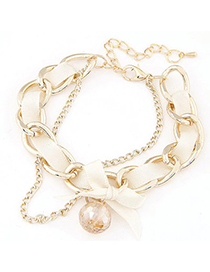 sweet White Diamond Decorated Weave Design Alloy Korean Fashion Bracelet