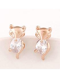 boutique Gold Color Diamond Decorated Fox Shape Design Alloy Stud Earrings