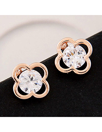 Gold Color Gold Color Diamond Decorated Clover Shape Design Alloy Stud Earrings