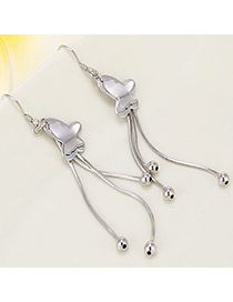 High-quality Silver Color Butterfly Shape Decorated Tassel Design Cuprum Fashion Earrings