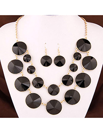 Joker Black Gemstone Decorated Round Shape Double Layer Design Alloy Jewelry Sets