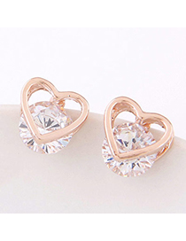 Lovely Gold Color Diamond Decorated Heart Shape Design Alloy Stud Earrings