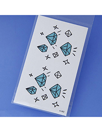 Cute Blue Diamond Pattern Simple Design Tape Tattoos body Art