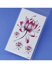 Latest Red Flower Pattern Simple Design Tape Tattoos Body Art