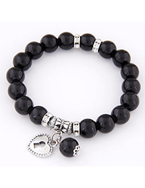 Fashion Black Beads Decorated Heart Shape Design