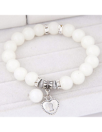 Fashion White Beads Decorated Heart Shape Design