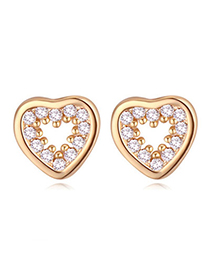 Casual Champagne Gold Diamond Decorated Heart Shape Design Zircon Crystal Earrings