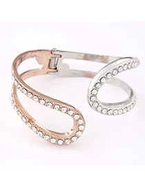 Pretty Rose Gold Diamond Decorated Double Layer Design Alloy Fashion Bangles