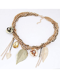 Popular Gold Color Tassel Decorated Hollow Out Design Alloy Bib Necklaces