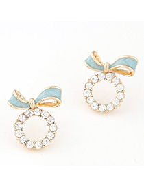 Pretty Blue Diamond Decorated Bowknot Shape Design Alloy Stud Earrings