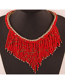Bohemia Red Beads Decorated Weave Tassle Design