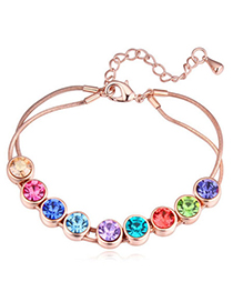 Glamour Rose Gold & Multicolor Diamond Decorated Simple Design Alloy Crystal Bracelets