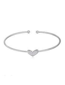 Pretty White Diamond Decorated Heart Shape Design Cuprum Crystal Bracelets