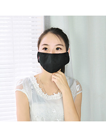 Everlas black pure color simple design cotton Face Mask