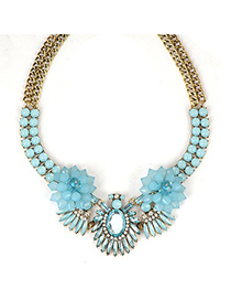 Quicksilve Blue Beads Flower Decorated Double Layer Design Alloy Fashion Necklaces