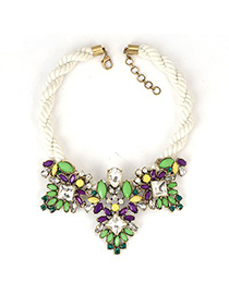 Magnetic Green Gemstone Patchwork Decorated Alloy Fashion Necklaces