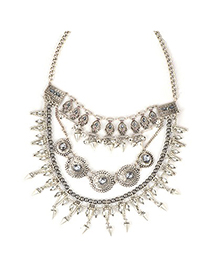Softshell Antique Silver Exaggerated Rivet Tassel Design Alloy Fashion Necklaces