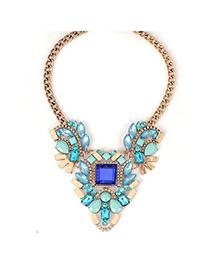 Fashionabl Blue Vintage Metal Inlaid Gemstone Design Alloy Fashion Necklaces