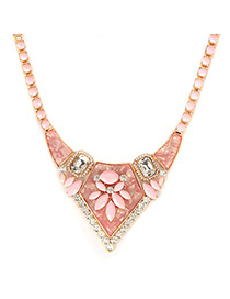 Mink Pink Gemstone Decorated Bead Chain Design Alloy Fashion Necklaces