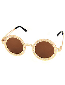 Fair Gold Color Hollow Out Round Shape Frame Design
