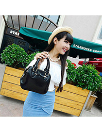 Hydraulic black bowknot decorated simple design pu Messenger bags