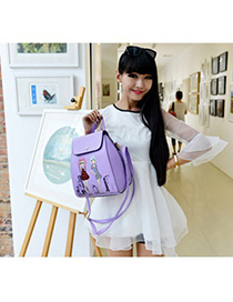 Flip purple beautiful girl pattern simple design pu Backpack
