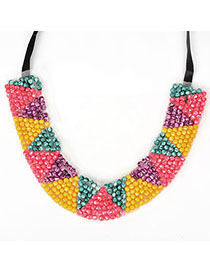 Memorable multicolor beadsweavesimpledesign alloy Fashion Necklaces