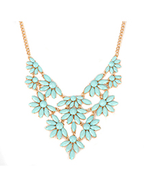 Toddler blue acrylicstonedecoratedflowerdesign alloy Fashion Necklaces