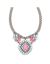 Little lightblue gemstonedecoratedflowerdesign alloy Fashion Necklaces