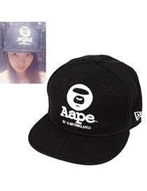 Handcrafte black letter AAPE embroidered simple design canvas Baseball Caps