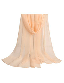 Tory beige pure color simple design chiffon Thin Scaves