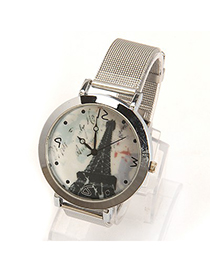 Fused silver color The Eiffel Tower pattern simple design electronic Ladies Watches