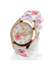 Huge plum red lily pattern simple design silicone Ladies Watches